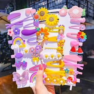 1Set New Girls Cute Cartoon Flower Geometric Hairpins Sweet Headband Hair Ornament Barrettes Hair Clips Fashion Hair Accessories