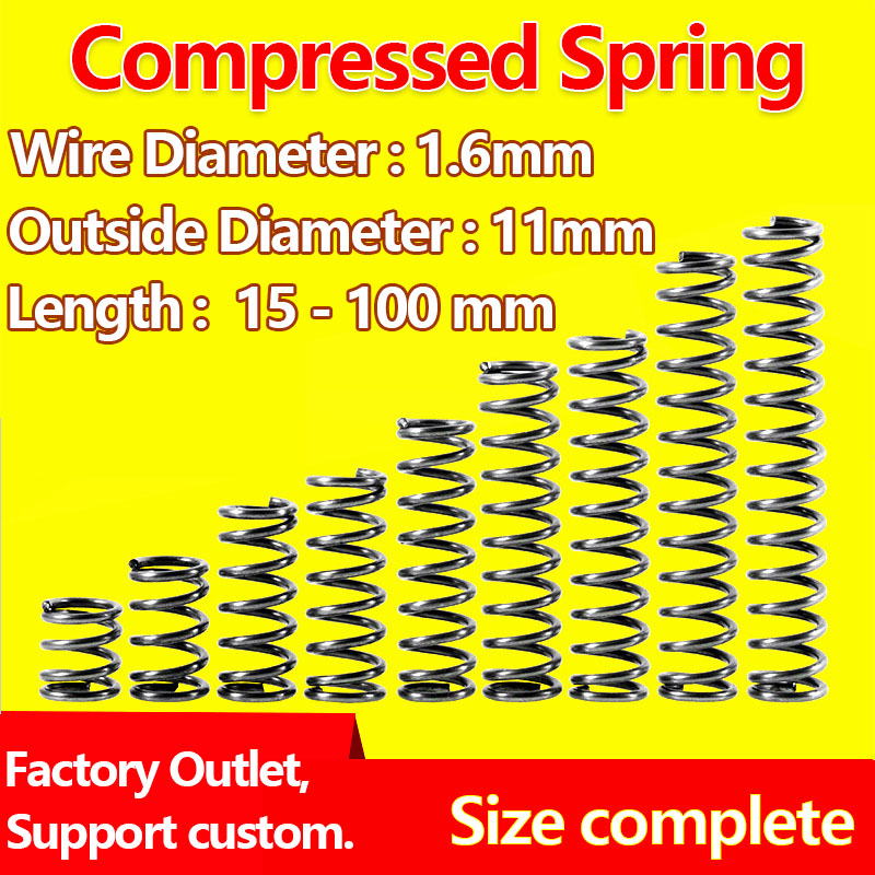 uxcell/® 1.2mm Wire Dia 13mm Outer Diameter 50mm Long Compression Springs Black 10pcs