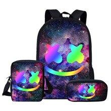 Cute Galaxy Smile Face 3D Print School Backpack for Teenage Boys Girls Children School Bag Set Student Book Bags Mochila Escolar