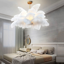 Nordic LD Pendant Lights Natural Ostrich Feather LOFT LED Lamp Bedroom Living Room Restaurant Lighting Deco Hanging