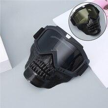 Outdoor Tactische Jacht Masker Full Face Beschermende Schieten Airsoft Masker Met Bril Voor Paintball Militaire Combat Schedel Maskers