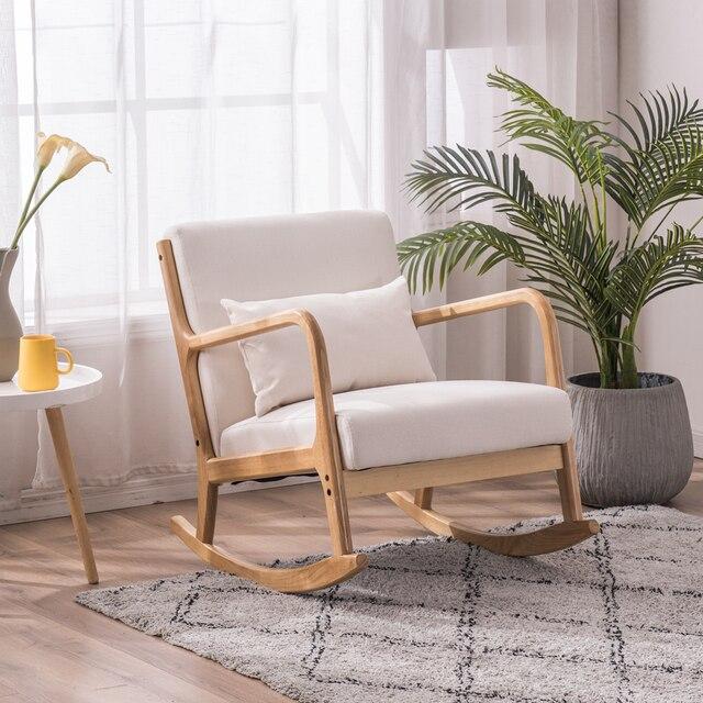 Rocking Chair Fabric Recliner w/ Ottoman 4