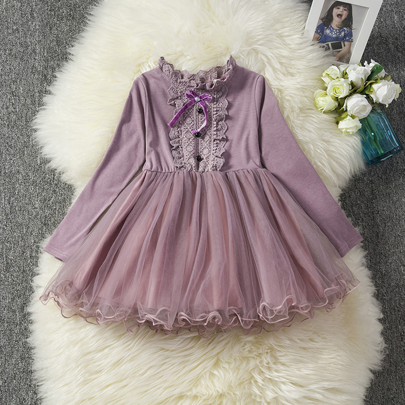 H809d648e4e914e4e932b9715e70affacy Red Kids Dresses For Girls Flower Lace Tulle Dress Wedding Little Girl Ceremony Party Birthday Dress Children Autumn Clothing