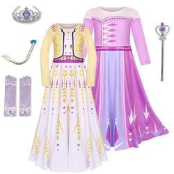 Girl Princess Elsa Dress Party Vestidos Cosplay Girl Clothing Anna Birthday Princess Dress frozens Kids Costume for Christmas