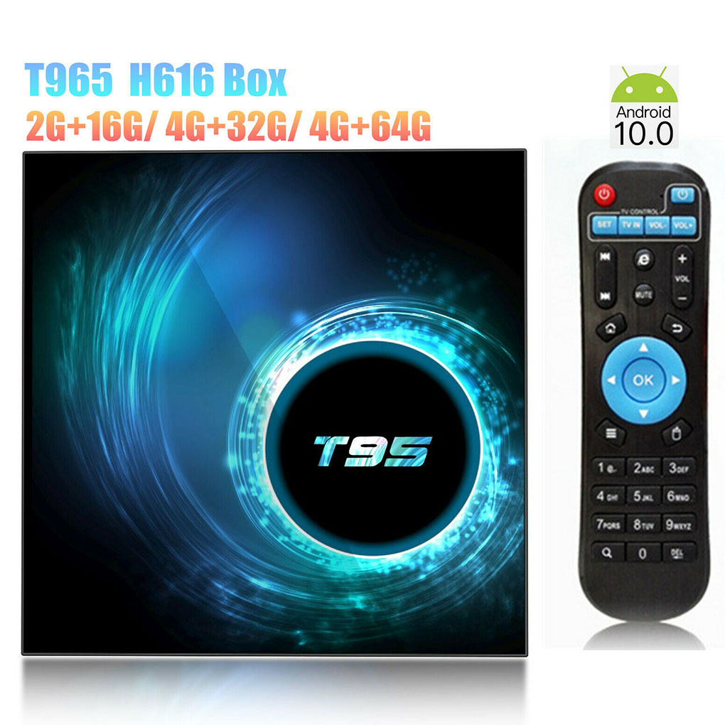 Quad Core Smart TV Box 10.0 HD2.0 Television Receiver Replacement for Android 10.0 Media Player T95 Set Top Box 16GB 32GB 64GB