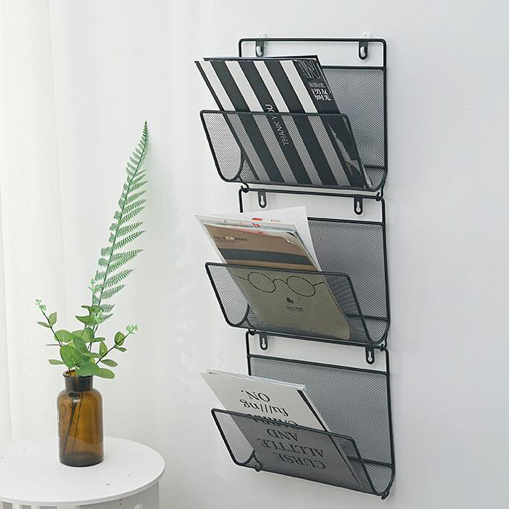 Wire Iron Magazine Holder Rack Home Wall Mounted Newspaper Organizer Booshelf Bookcase Tablets Laptop Storage Shelf Paper Rack