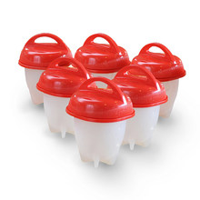 Ovo caldeira poachers steamer 6 peças multi funcional cortador de ovo slicer 6 peça silicone copos caldeiras branco vermelho gema divisor