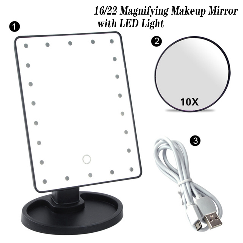 20/16 LEDs Lighted Makeup Mirror Touch Screen Portable Battery Operated USB Charging Magnifying Tabletop Lamp Cosmetic Mirror