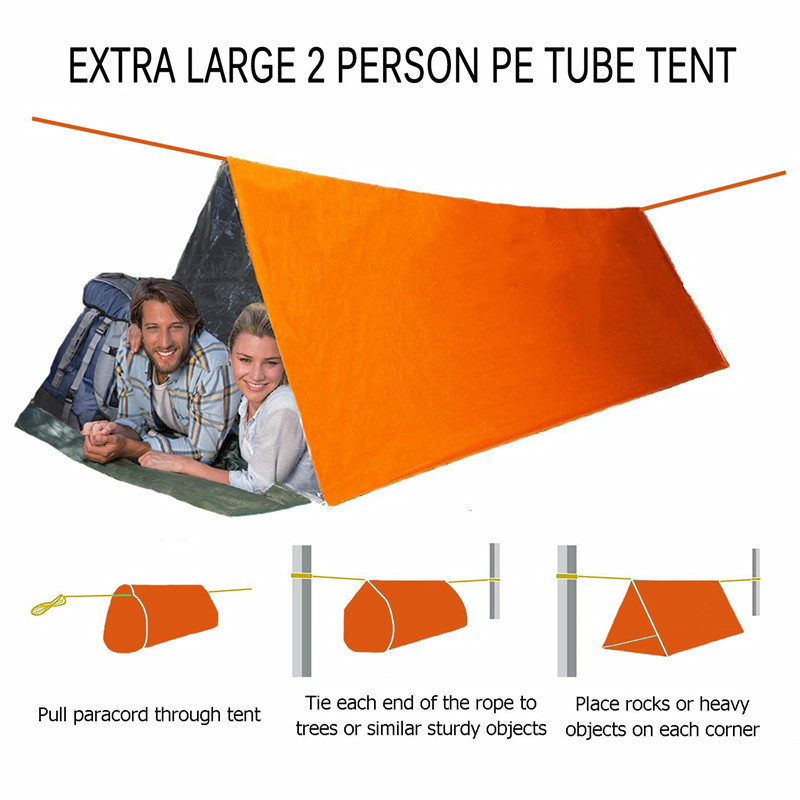 Camping Emergency Tent Survival Sleeping Bag, Lightweight Waterproof Thermal Emergency Blanket, Bivy Sack For Outdoor Adventure