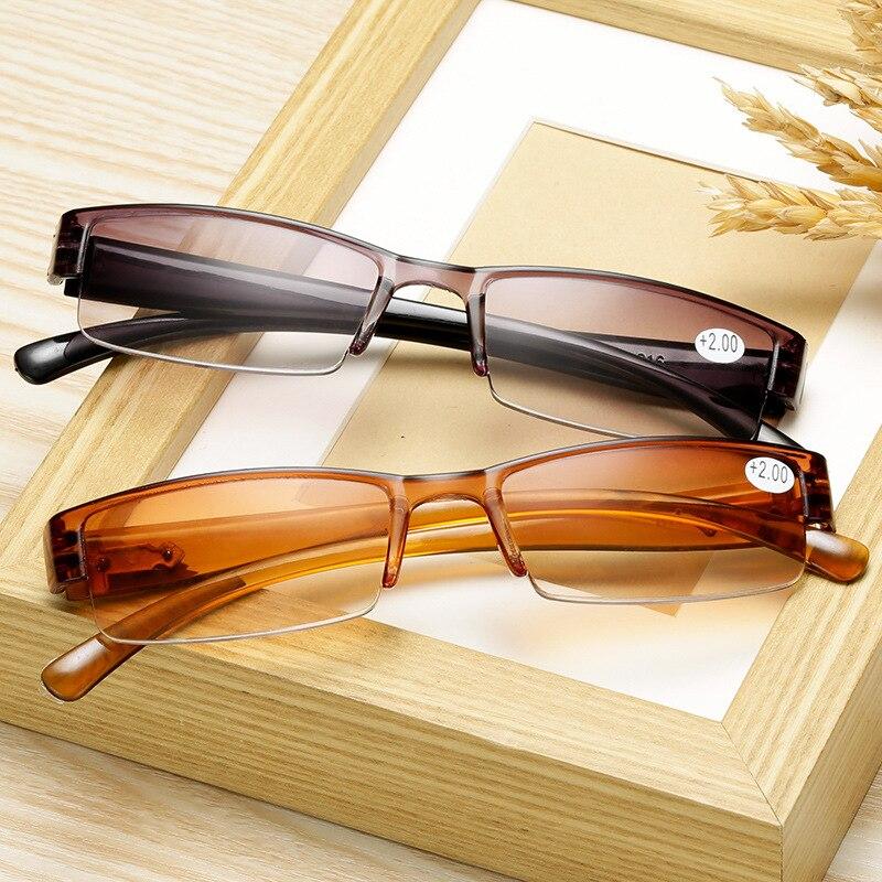 Модные корейские очки для чтения для мужчин и женщин, пресбиопические очки с прозрачными линзами в полуоправе, 1,0, 1,5, 2,0, 2,5, 3,0, 3,5, 4,0, для чтения|Мужские очки для чтения| | АлиЭкспресс
