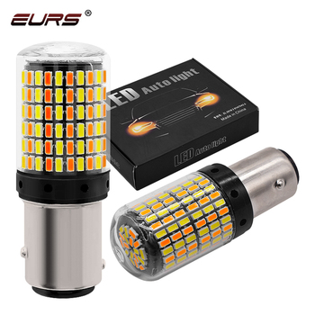 2 sztuk BAY15D światło stop led 1157 7443 3157 żarówka led 168smd canbus lampa biały żółty sygnał światła podwójny kolor 12V