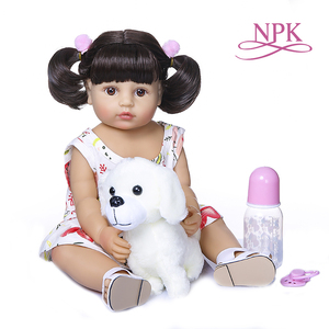 55CM NPK real baby size very soft flexible full body silicone bebe doll reborn baby toddler girl(China)