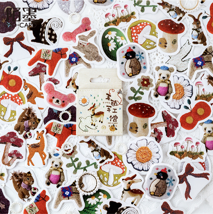 Mohamm 40 Pcs/pack Cute Kawaii Animal Flower Small Paper Sticker Flakes Stationary Sticker Office Accessories