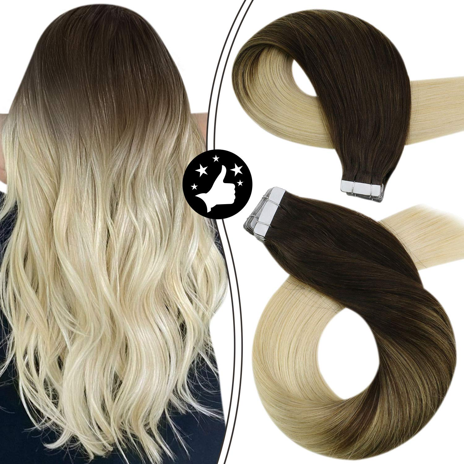 Tape in Extensions Human Hair Straight Machine Remy Balayage Brown and Blonde 100% Real Skin Weft Invisibe Seamless Hair