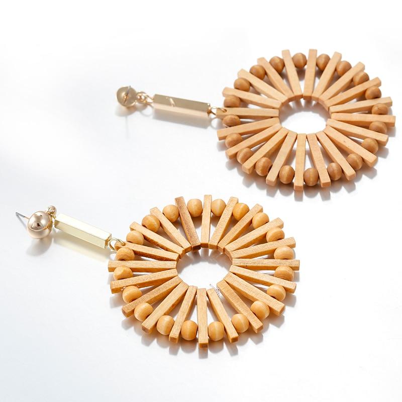 AENSOA Vintage Handmade Rattan Drop Earrings For Women Fashion Ethnic Bamboo Wooden Geometric Earrings Costume Jewellery Summer