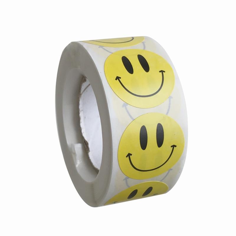 500 шт./рулон с милым рисунком в виде улыбающихся рожиц; Стикеры для детей награда желтыми ярлыками Kawaii надписью «Happy Smile» и стикером с изображ...
