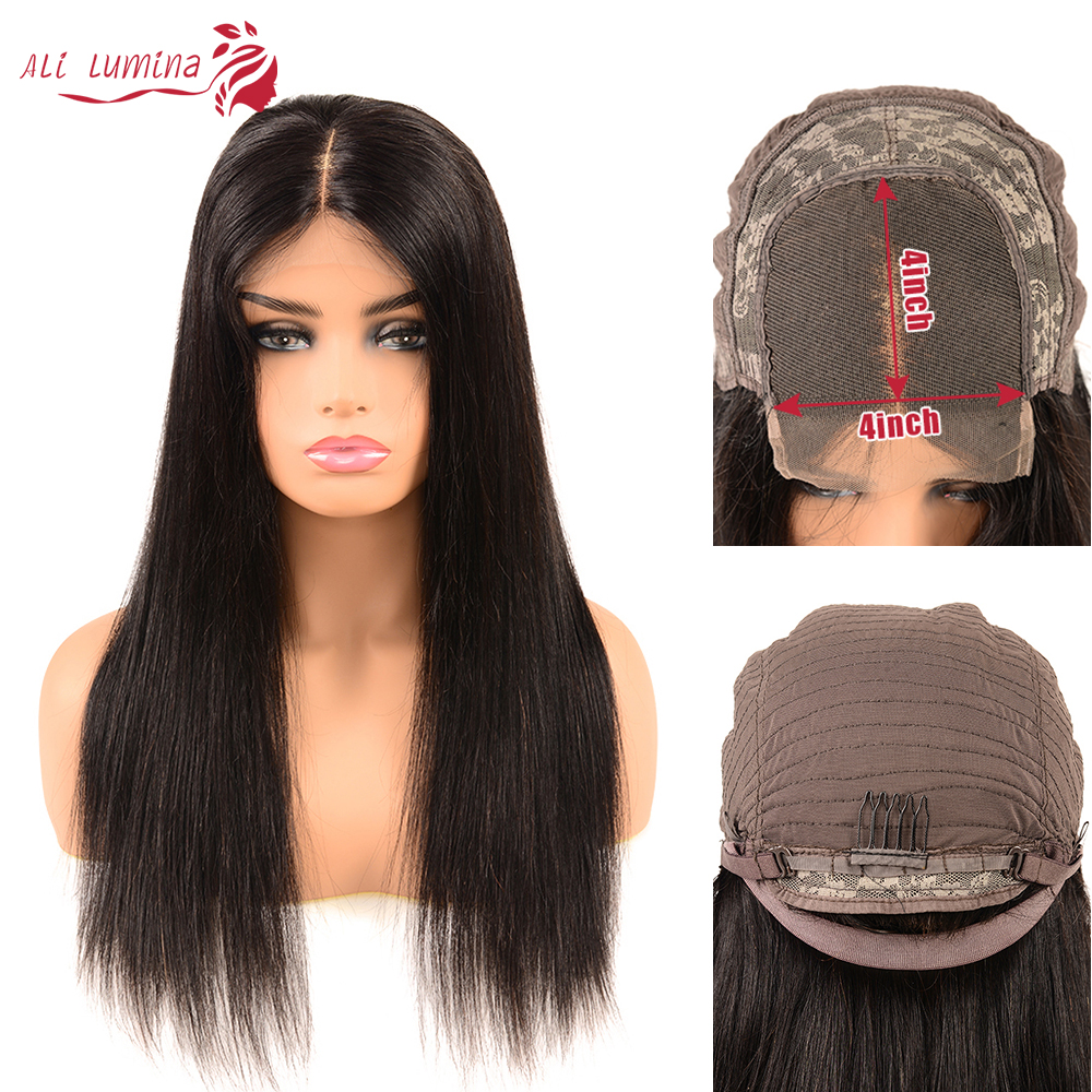 Ali Lumina <font><b>Human</b></font> <font><b>Hair</b></font> <font><b>Wig</b></font> 4X4 <font><b>Lace</b></font> Closure <font><b>Wig</b></font> Brazilian <font><b>Hair</b></font> <font><b>Wigs</b></font> Remy Straight <font><b>Hair</b></font> <font><b>Wig</b></font> <font><b>Density</b></font> <font><b>180</b></font>% 10-30 Inches image