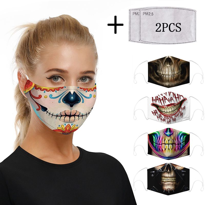 3D Print Funny Cotton PM2.5 Mouth Mask Filter Mask Cosplayer Big Mouth Series Skull Face Mask Washable Reusable  Protective Mask