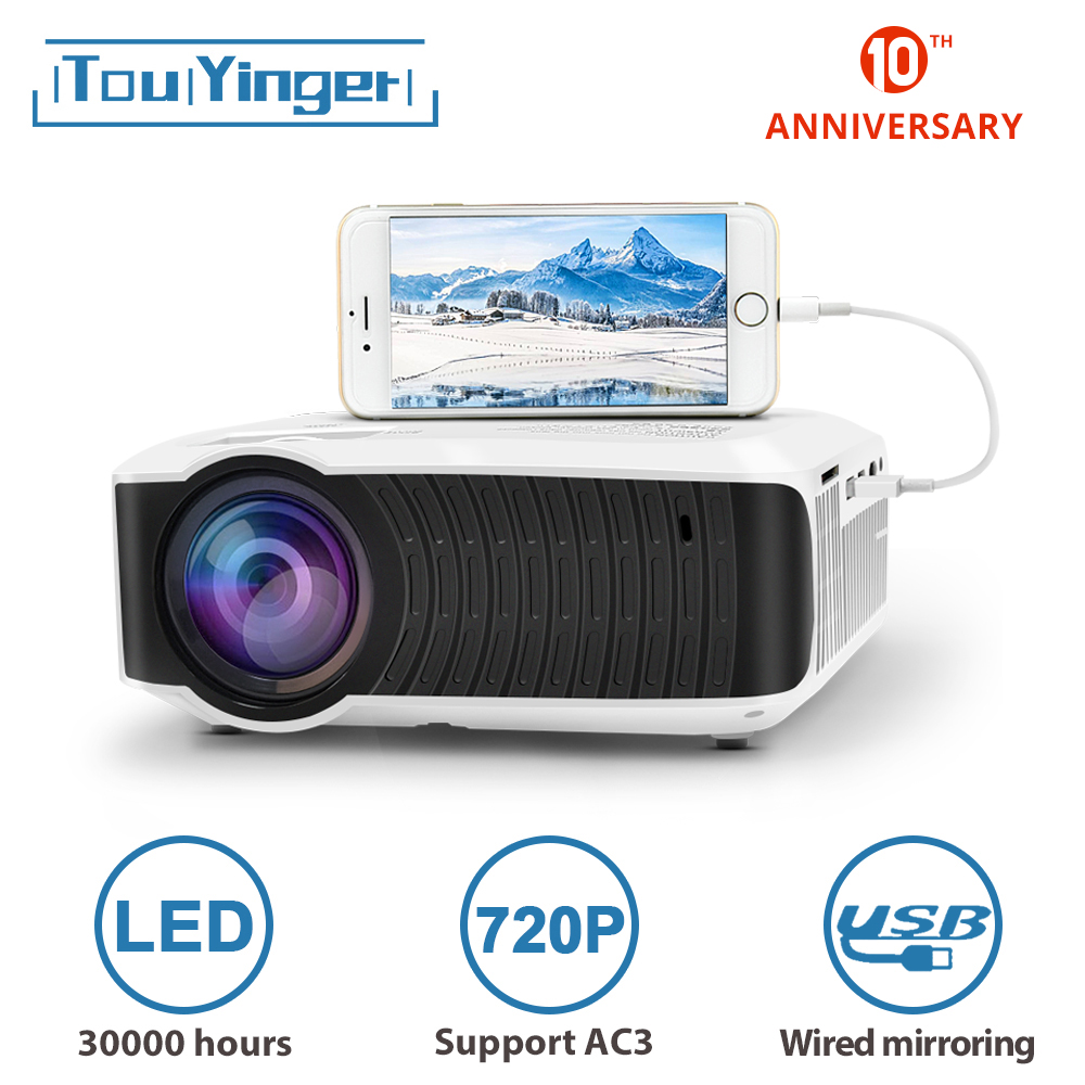 TouYinger T4 Mini Projector LED HDMI 1280x720 Portable Beamer USB Home Cinema (Optional AC3 Wired Sync Display For Phone Tablet)