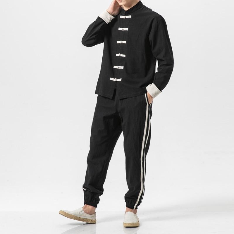 Shirt Pant Jacket Suits-Sets Linen Streetwear Hip-Hop China-Style Male Casual 2PCS Cotton