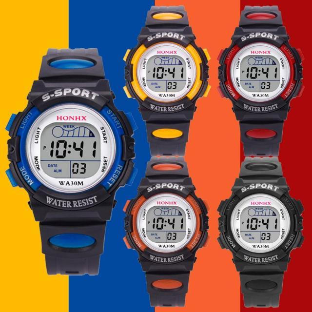Часы детские цифровые светодиодные, водонепроницаемые спортивные, с будильником и датой, подарок, повседневные электронные простые круглы...