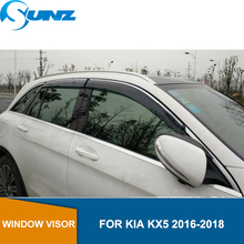 цена Window Visor for KIA KX5 2016-2018 CHROME Strips side window deflectors rain guards for KIA KX5 2016 2017 2018 SUNZ