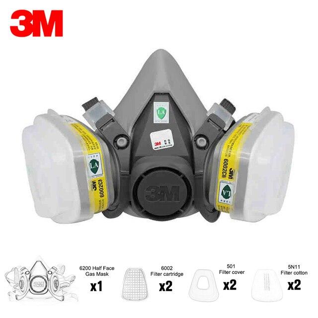 7 ב 1 חליפת 3M 6200 מחצית פני מסכת הנשמה עם 2Pcs 6002 כלור גופרית דו חמצני אדי מסנן מחסנית אבק מסכה