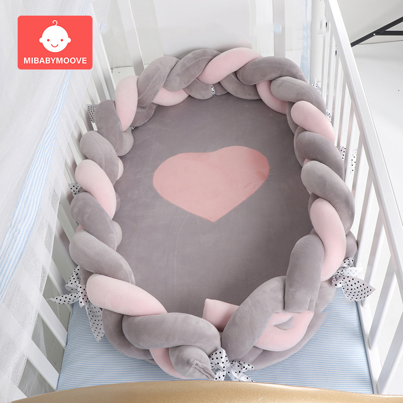 80*50cm Portable Cotton Baby Bionic Bed Foldable Newborn Baby Crib Nest Bed Cradle Removable Infant Travel Bed With Bumper
