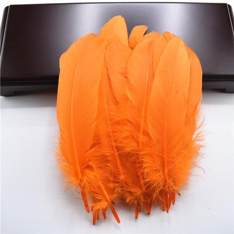 Жесткий полюс, натуральные гусиные перья для рукоделия, 5-7 дюймов/13-18 см, самодельные ювелирные изделия, перо, свадебное украшение для дома - Цвет: Orange