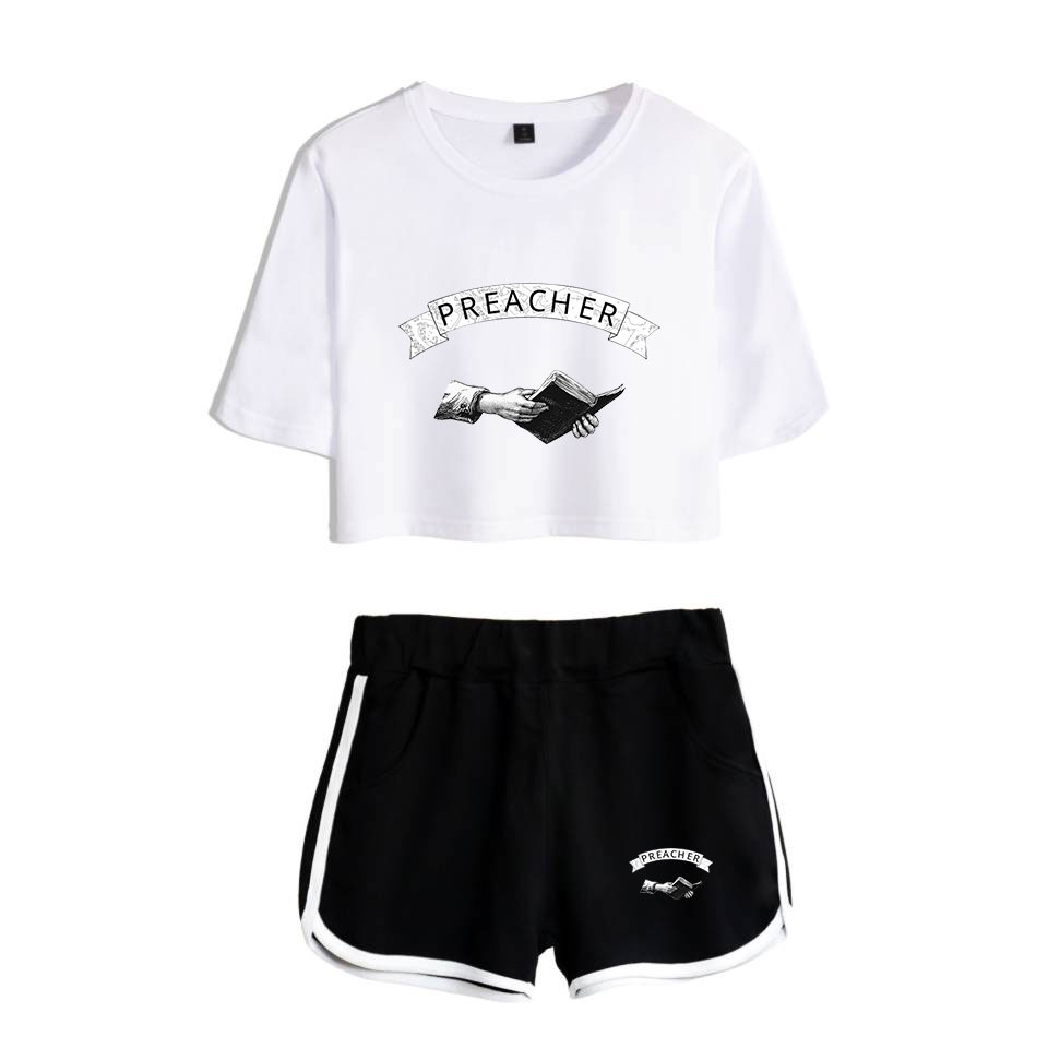 Summer Suitable Preacher Exposed Navel White T-shirt+black Shorts Women's Two-piece Cotton High Quality Women's Two-piece Sets
