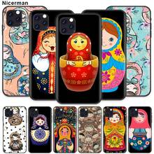 Russian matryoshka Dolls Case for Apple iPhone 11 X XR XS Max 7 8 6 6S Plus 5 5S SE 5C Black Silicone Cobrir Phone Cover Coque ayrton senna case for apple iphone 11 x xr xs max 7 8 6 6s plus 5 5s se 5c black silicone cobrir phone cover coque