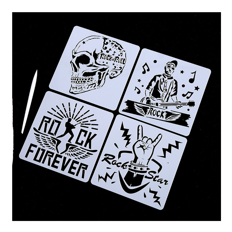 10pc Rock Styles DIY Drawing Stencils Painting Template Lace Ruler Graffiti Painting Set