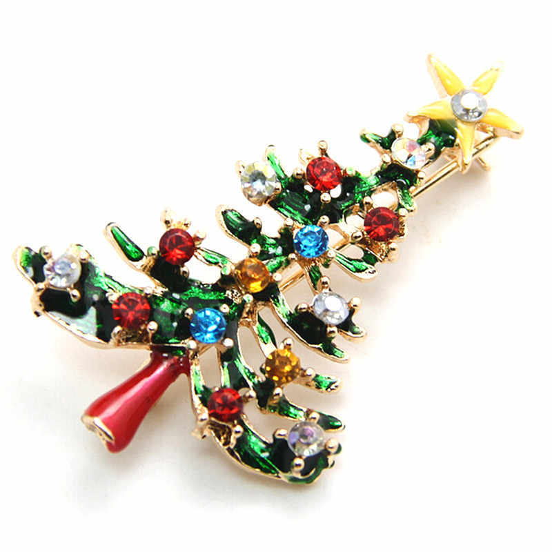 1Pc Hot Christmas Tree Crystal Brooches Pins Christmas Fashion Jewelry Drop Shipping