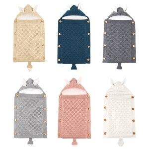 Детская Толстая теплая прогулочная коляска с капюшоном, спальный мешок, вязаные конверты, Пеленальное Одеяло