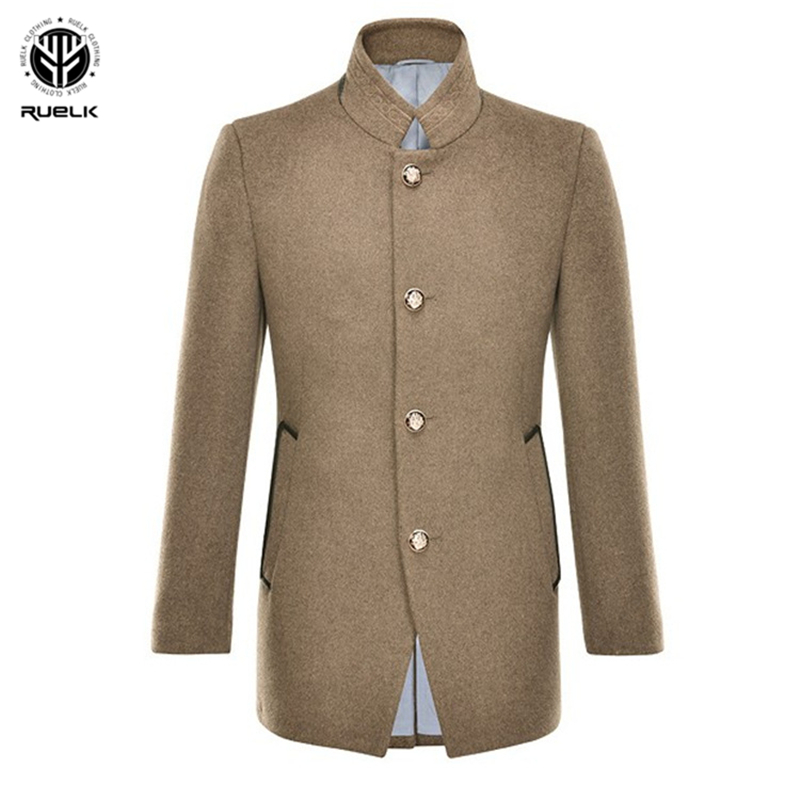 RUELK 2020 Autumn And Winter Youth Men's Fashion Classic Solid Color Casual Fashion Woolen Coat Men's Stand Collar Woolen Coat
