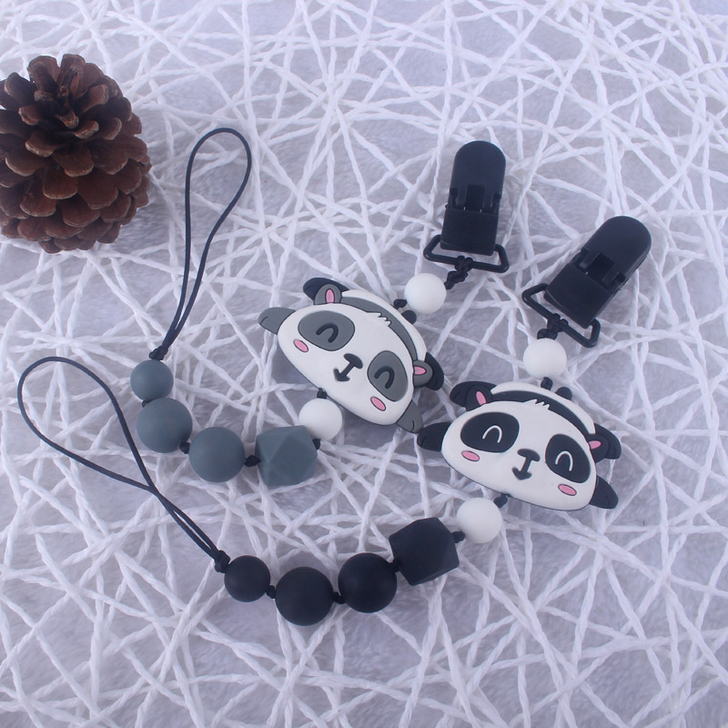 Silicone Cute Bear Teething Beads Newborn Baby Binky Clip BPA Free Silicone Pacifier Holder Clip