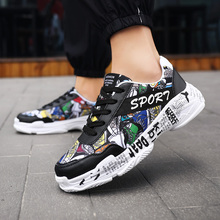 цена Graffiti Printed Sneakers Men Thick Sole Mixed Colors Unisex Couple Shoes Outdoor Walking For Male Size 35-44 Tenis Masculino онлайн в 2017 году