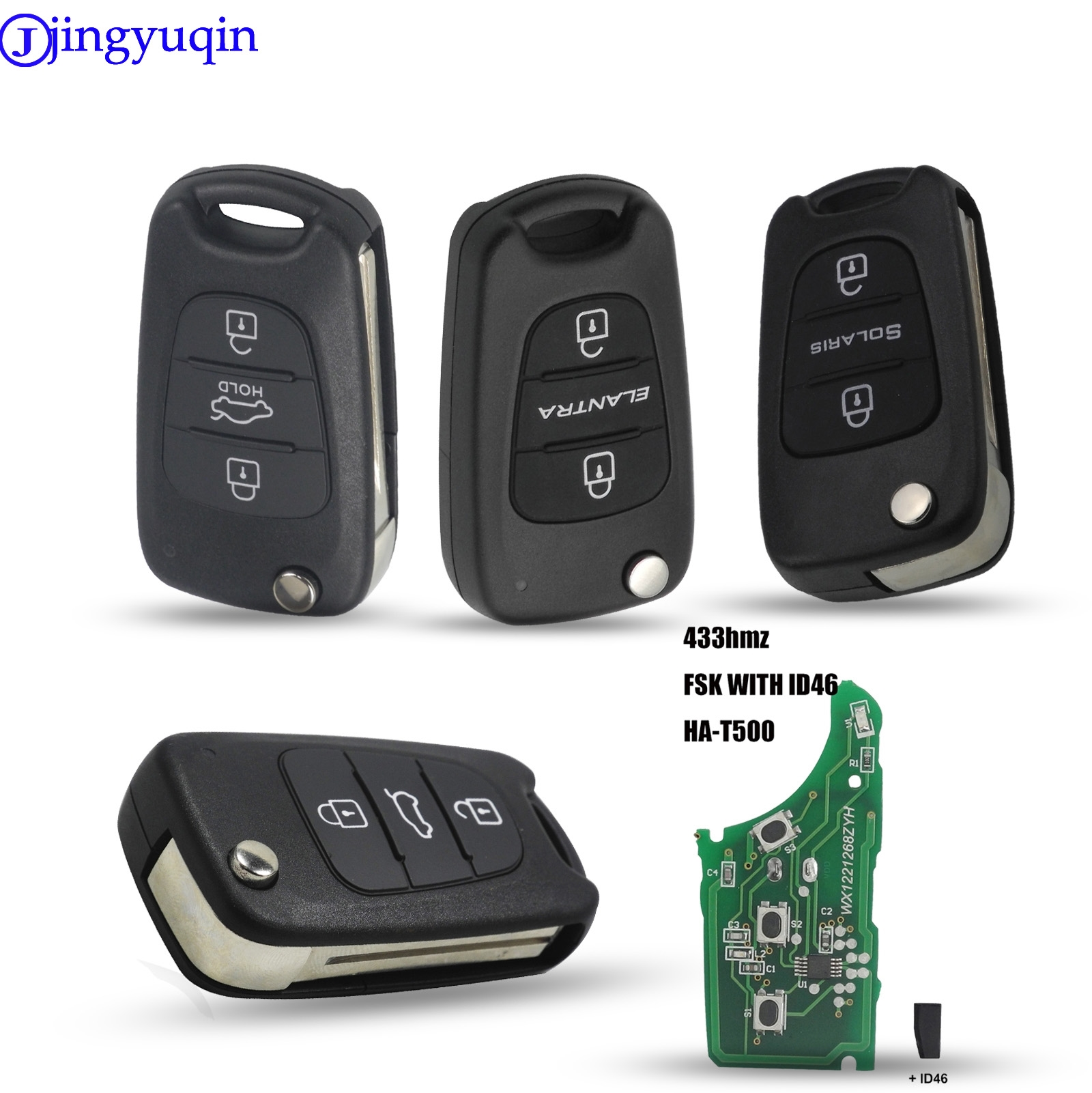 4 Buttons Replacement Flip Folding Smart Car Key Shell Cover Fit for Hyundai Vehicles Accent Sonata Elantra Keyless Entry Remote Key Fob Case