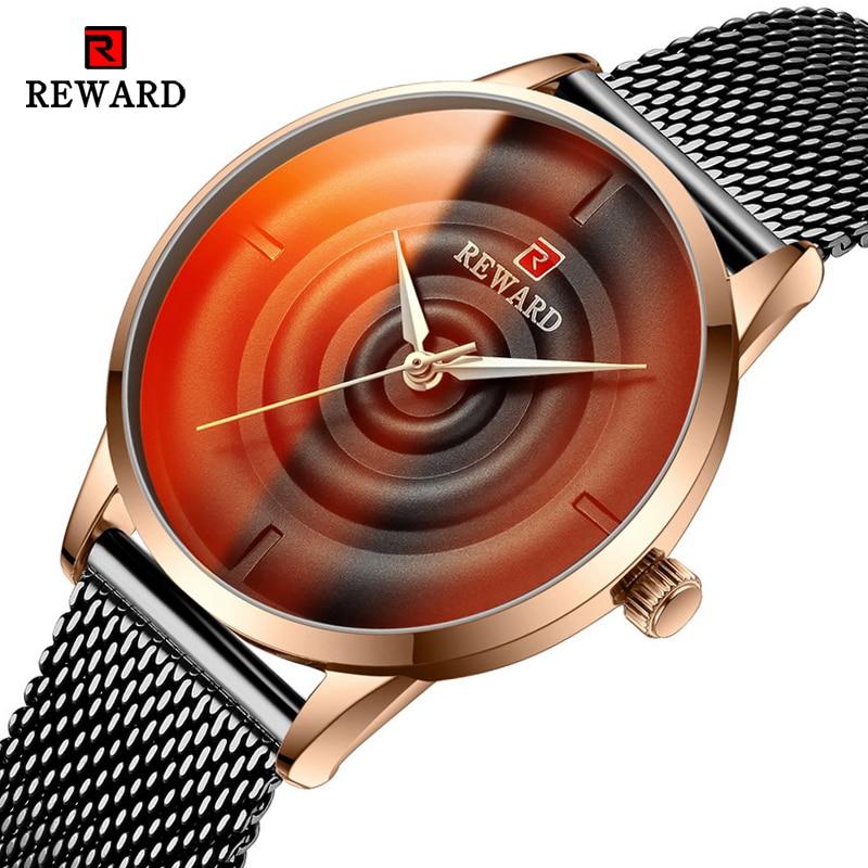 REWARD 2020 Beautiful Unique Design Dial Black Mesh Belt Women Quartz Wristwatch Clock Female Fashion Dress Watch Montre Femme