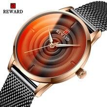 REWARD 2020 Beautiful Unique Design Dial Black Mesh belt Women Quartz Wristwatch Clock Female Fashio