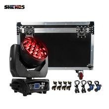 Projecteur de lumière à tête mobile 19x15W RGBW avec valise de transport, éclairage avec Zoom lavage, équipement pour éclairage de scène, DJ Disco Party Bar Dance