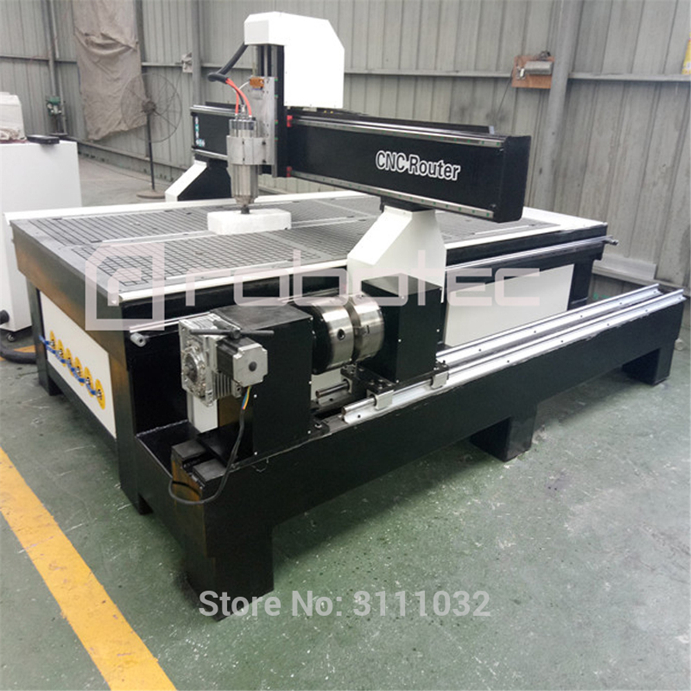 ROBOTEC 4 Axis Cnc Router Machinery Furniture Wood Carving Machine With Rotary Device Italian Spindle Economic Price Engraver