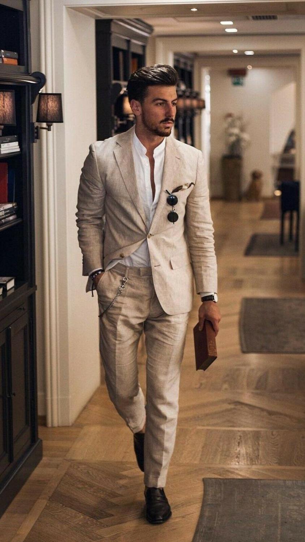 Details about  /Men 3 Piece Summer Linen Suit Light Grey Tuxedo Wedding Party Prom Dinner Suit