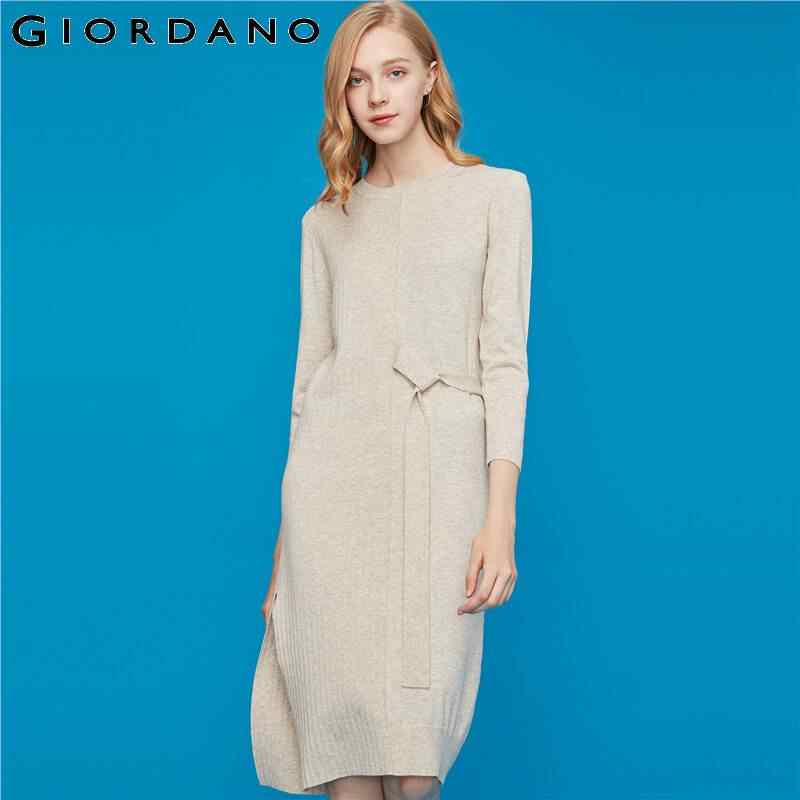 Giordano Women Dress Stylish Waistband Knitted Vestidos Creneck Long Sleeves Sweet Solid Robe Femme 94469042