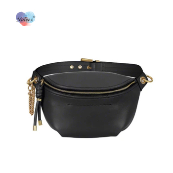 Nuleez bag women saddle bag cross-body fashion  chest pack sports style real cowhide two long straps chain and leather
