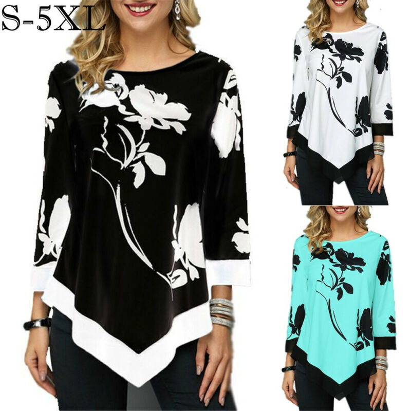 Women Irregular Floral Print Blouse Tops 3/4 Sleeve Casual Loose Tee Shirt Fashion Tunic Ladies Tops Retro Boho Clothes(China)