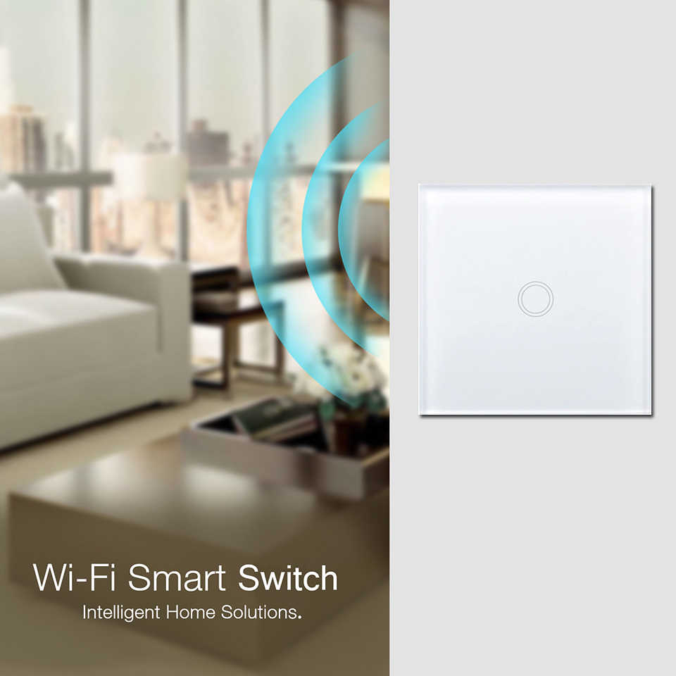 EsooLi Smart Home 1/2/4 Gang 1 way Wireless WiFi EU Standard Touch Switch Wall Light Touch Switch,ewelink App Control