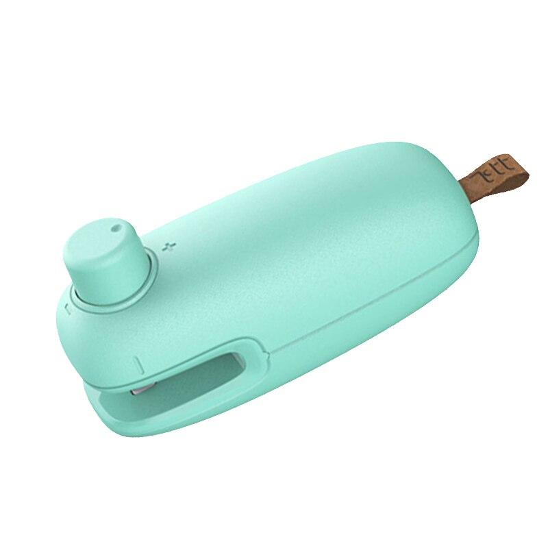 Ev Aletleri'ten Vakumlu Gıda Yalıtıcılar'de Çip 2 in 1 el düzenlenen Mini taşınabilir ısıyla yapıştırma için plastik poşetler gıda depolama Resealer ile emniyet kilidi  nane yeşili title=