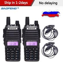 2PCS UV 82 5w Walkie Talkie BaoFeng Dual Band VHF/UHF Rádio Em Dois Sentidos Duplo PTT Rádio Portátil BAOFENG Rádio amador UV82 + Fone de Ouvido