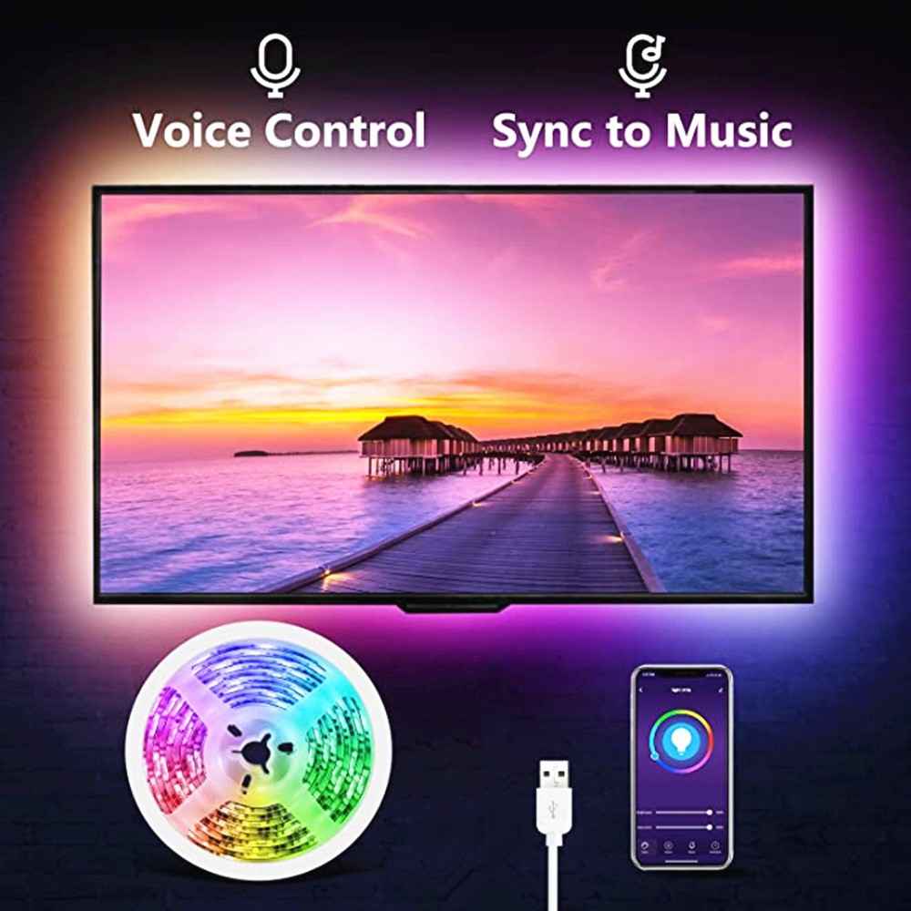 Led Strip Light RGB 5050SMD DC 5V Flexible Ribbon 2835SMD 1M 2M 3M Tape Diode USB Led Strip Lamp Bluetooth Music TV Backlight(China)